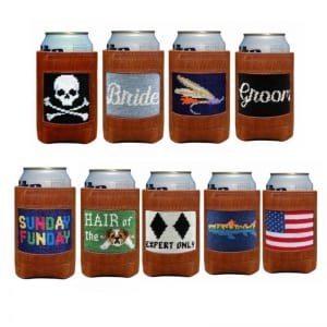 leather can koozie cooler needlepoint